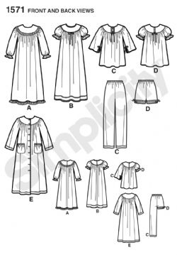 1571 Simplicity Pattern: Child's and Girls' Loungewear Separates